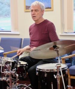 Bert Schilperoort playing drums